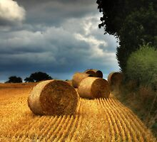 Straw Bales under a stormy sky by Alan E Taylor