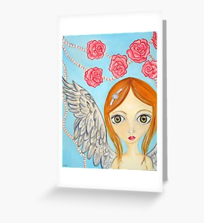 Angel with the Rose Pearls Greeting Card
