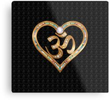 Two golden hearts centered in OM, with OM repetition background Metal Print
