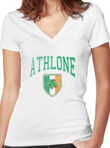 Athlone, Ireland with Shamrock Women's Fitted V-Neck T-Shirt