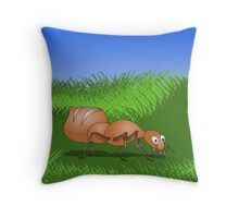 Ant smiling in tall green grass Throw Pillow