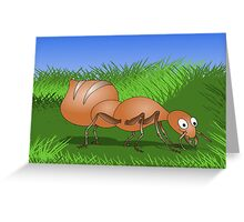 Ant smiling in tall green grass Greeting Card