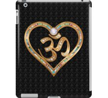 Two golden hearts centered in OM, with OM repetition background iPad Case/Skin
