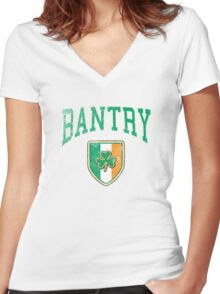 Bantry, Ireland with Shamrock Women's Fitted V-Neck T-Shirt