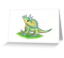 Curious Little Tricera Hatchling Greeting Card