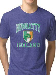 Bunratty, Ireland with Shamrock Tri-blend T-Shirt