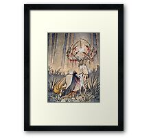 The Wish - Kitsune Fox Deer Yokai Framed Print