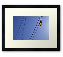 Light and Wires with Contrail Framed Print