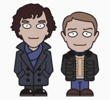 Sherlock and John mini people (shirt) One Piece - Short Sleeve