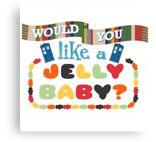 Doctor Who Typography - Jelly Baby Canvas Print