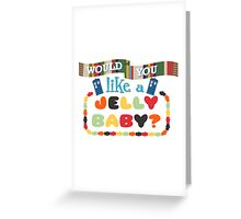 Doctor Who Typography - Jelly Baby Greeting Card