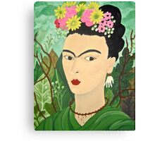 Frida with Flowers Canvas Print