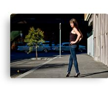 Fashion shot Chloe Jane Street Location Aspect 2 Canvas Print