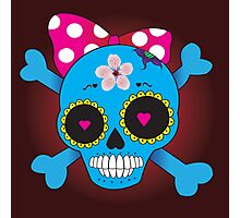 Girly skull with bow Photographic Print