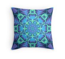 Aqua stars and Purple patterns Throw Pillow