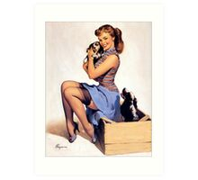 Gil Elvgren pin up with Puppies! Art Print
