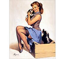 Gil Elvgren pin up with Puppies! Photographic Print