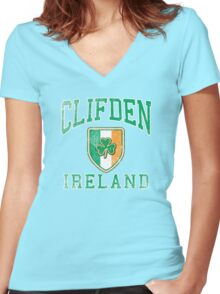 Clifden, Ireland with Shamrock Women's Fitted V-Neck T-Shirt
