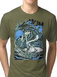 SURFER SKULL BLUE Tri-blend T-Shirt