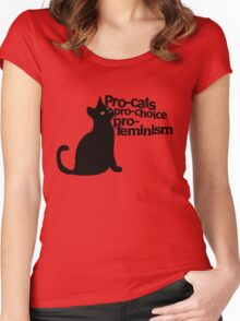 Pro-cats Pro-choice Pro-feminism Women's Fitted Scoop T-Shirt