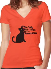 Pro-cats Pro-choice Pro-feminism Women's Fitted V-Neck T-Shirt