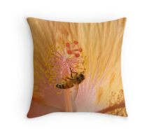 Orange Bee Stamen Hibicus Shadow Throw Pillow