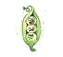 Three Funny Peas in a Pod Photographic Print