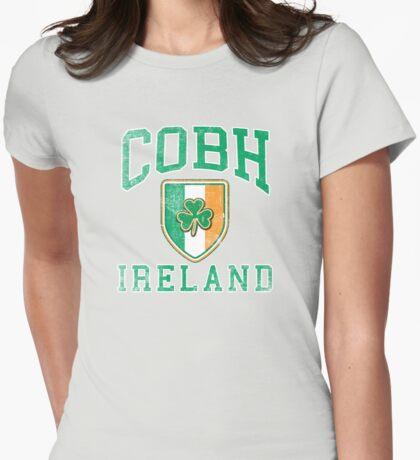 Cobh, Ireland with Shamrock Womens Fitted T-Shirt