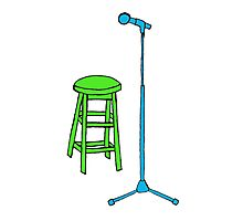 Stand Up Comedy Stool and Mic.  Photographic Print