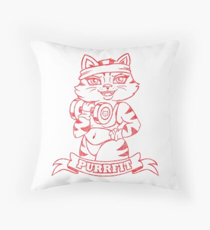 Get Yourself PurrFit! Throw Pillow