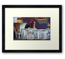 Mary burger, on wheat, well done, with onions & spicy fries - to go, please Framed Print