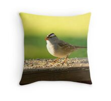 White Crowned Sparrow Throw Pillow