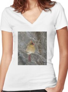 Look to the Left. Women's Fitted V-Neck T-Shirt