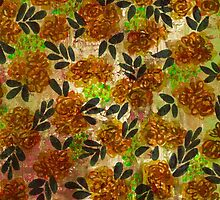 GRUNGE FLOWERS 1 Colorful Avocado Grass Green Brown Beige Pink Floral Pattern Abstract Flowers by EbiEmporium