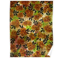 GRUNGE FLOWERS 1 Colorful Avocado Grass Green Brown Beige Pink Floral Pattern Abstract Flowers Poster