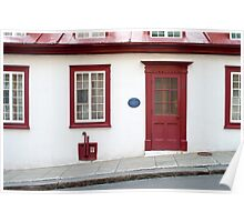 Old Quebec Door Red & White Poster