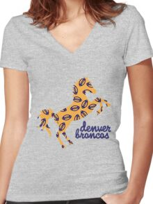 denver b r o n c o s  Women's Fitted V-Neck T-Shirt