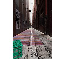 Crate, Lamp, Alley, Robot Photographic Print