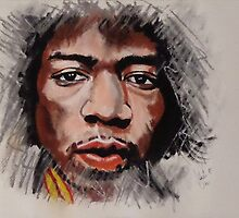 Jimmy Hendrix - Musician in Pastels by Julie Hollis