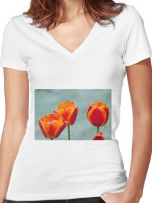 tulip in spring Women's Fitted V-Neck T-Shirt