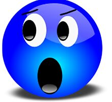 Shocked Blue Smiley Face by NetoboDesigns