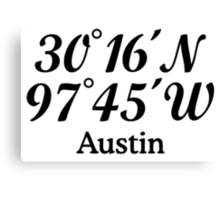 Austin Coordinates Canvas Print