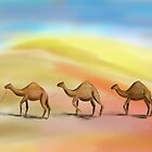 Walking in the Hot Desert with 3 Camels by ibadishi