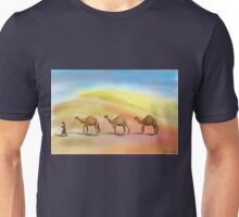 Walking in the Hot Desert with 3 Camels Unisex T-Shirt