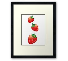 3 Strawberries fruit down Framed Print