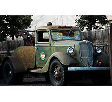 Last Chance Garage - Vintage Tow Truck Photographic Print