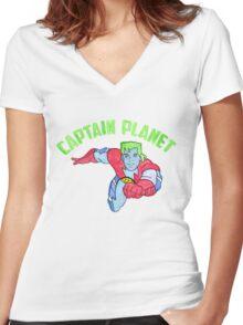 Captain Planet  Women's Fitted V-Neck T-Shirt