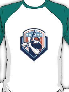 American Baseball Batter Hitter Shield Retro T-Shirt