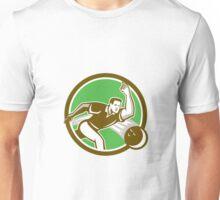 Bowler Throwing Bowling Ball Circle Retro Unisex T-Shirt