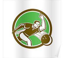 Bowler Throwing Bowling Ball Circle Retro Poster